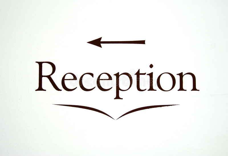 Reception sign. A reception sign with arrow - in a hotel wall vector illustration