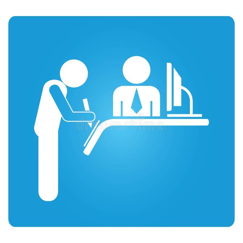 Reception sign. Registration sign or reception sign in blue button stock illustration