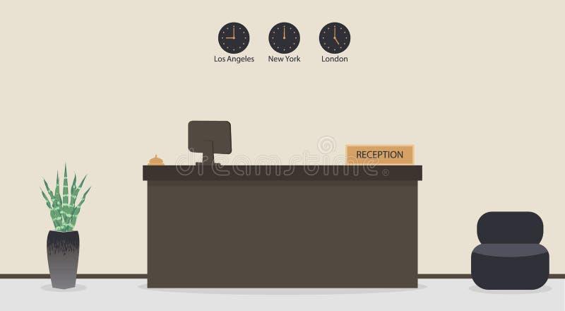 Reception vuota in hotel o in banca, posto di lavoro del receptionist Sala di attesa, corridoio nell'ufficio di affari, interno m illustrazione di stock