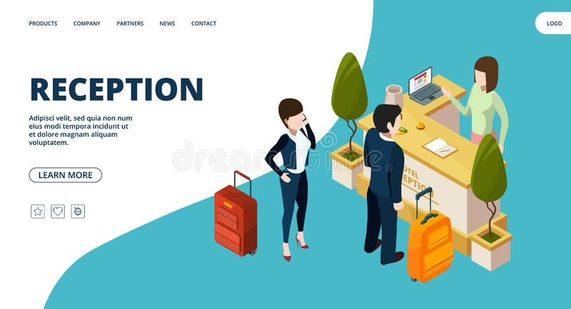Reception web page. Isometric hotel info point landing. Vector people in hotel vector illustration