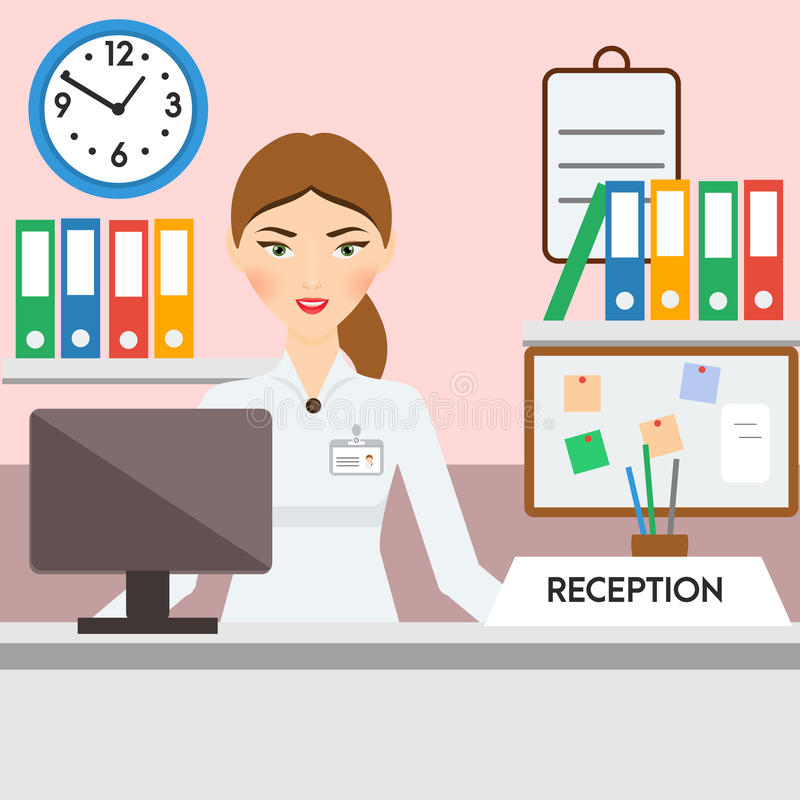 Receptionist, administrator, manager female. Friendly smiling woman on reception stock illustration