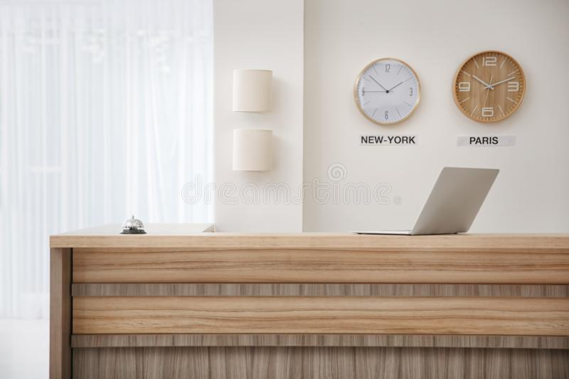 Receptionist desk in hotel. Workplace interior royalty free stock photos