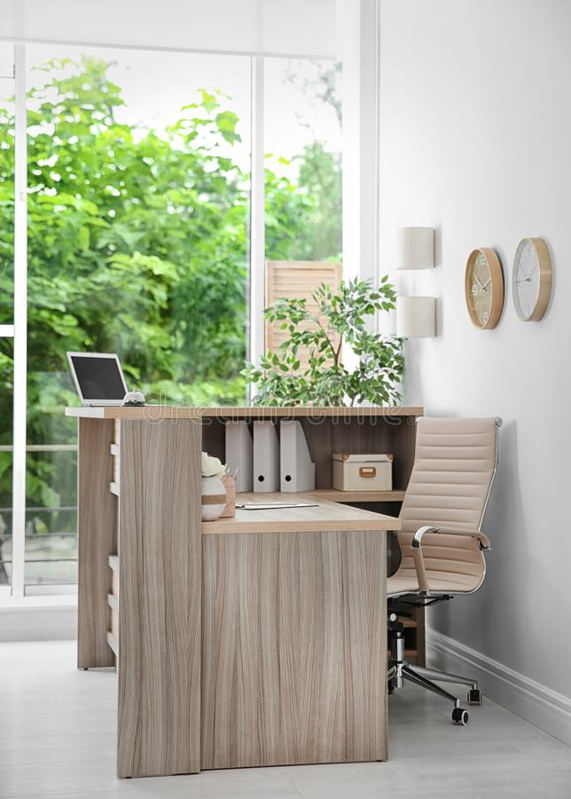Receptionist desk in hotel. Workplace interior royalty free stock photography