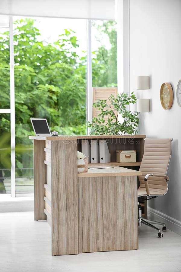 Receptionist desk in hotel. Workplace interior royalty free stock photo