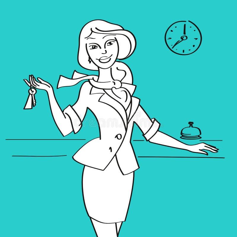 Receptionist i hotell med tangenter royaltyfri illustrationer