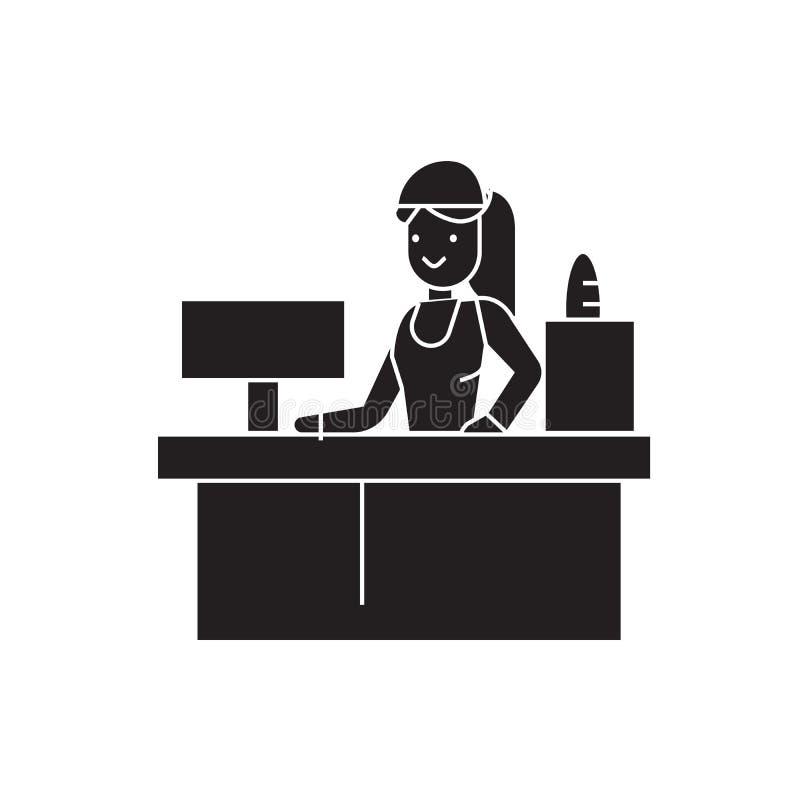 Receptionist woman black vector concept icon. Receptionist woman flat illustration, sign stock illustration