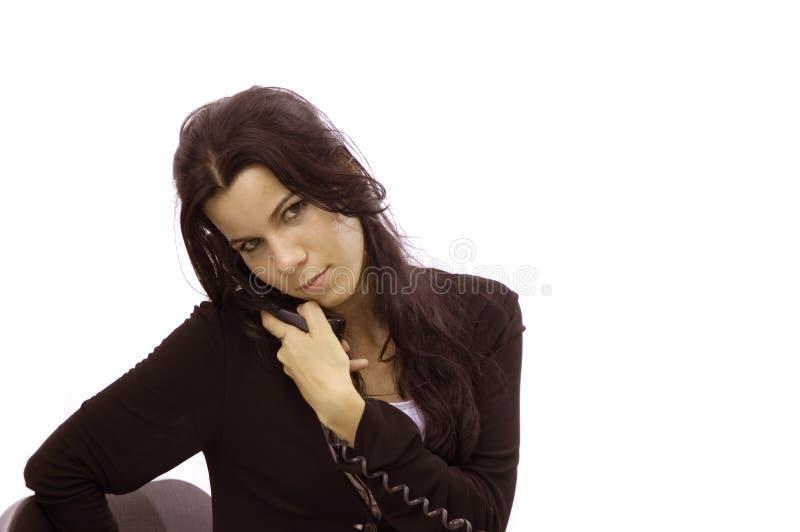 Receptionist woman on phone stock photo
