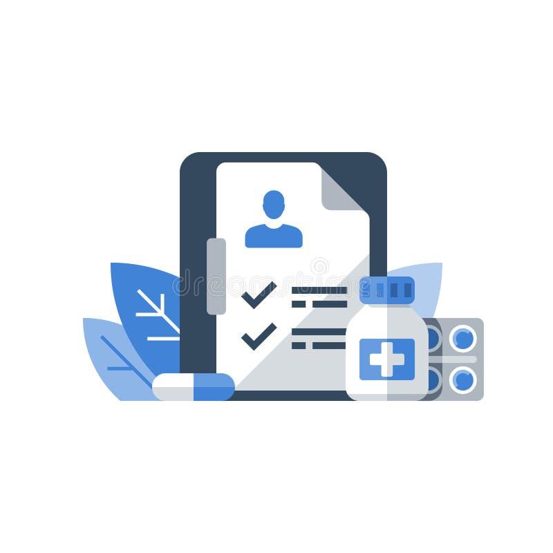 Receptmedicin, hälsovårdprogram, medicinsk service, försäkring och behandling, läkarbehandlingkurs, skrivplatta för kontrolllista vektor illustrationer