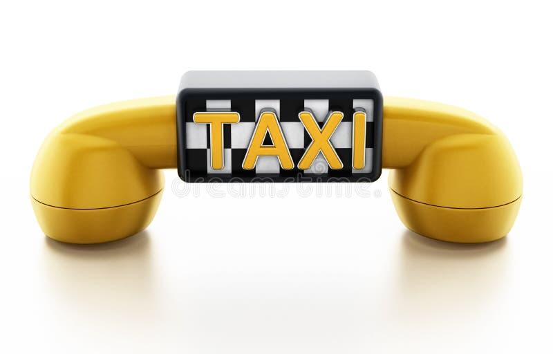Receptor amarelo do telefone com sinal do táxi no teste padrão dos verificadores ilustração do vetor