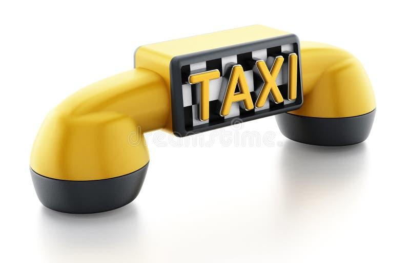 Receptor amarelo do telefone com sinal do táxi no teste padrão dos verificadores ilustração royalty free