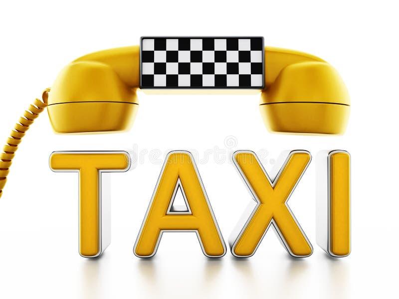 Receptor amarelo do telefone com sinal do táxi no teste padrão dos verificadores ilustração stock