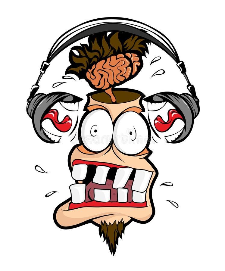 Receptor de cabeza muy ruidoso stock de ilustración