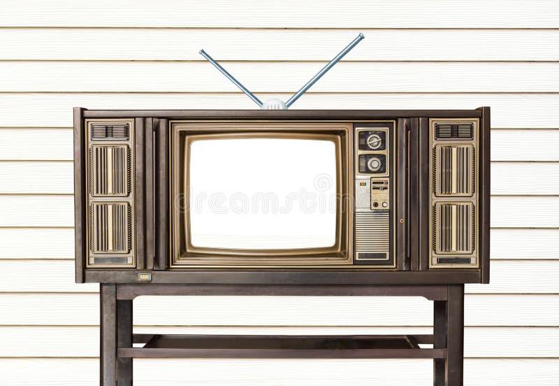 Receptor de madeira retro velho da tevê da casa na tabela de madeira velha ilustração stock