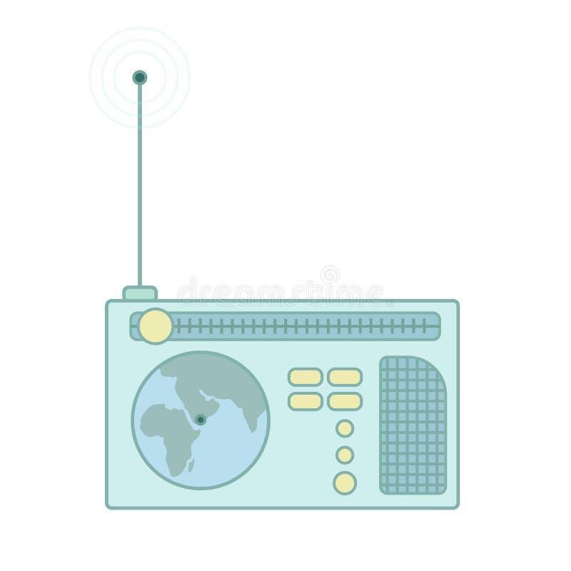 Receptor de radio del vintage con la antena Icono plano del vector ilustración del vector