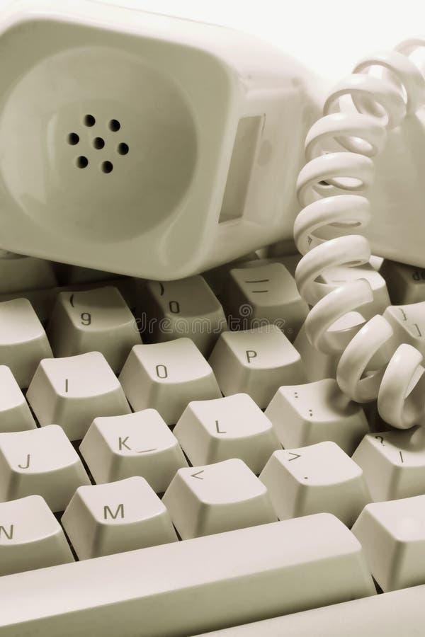 Receptor de telefone no teclado fotografia de stock royalty free