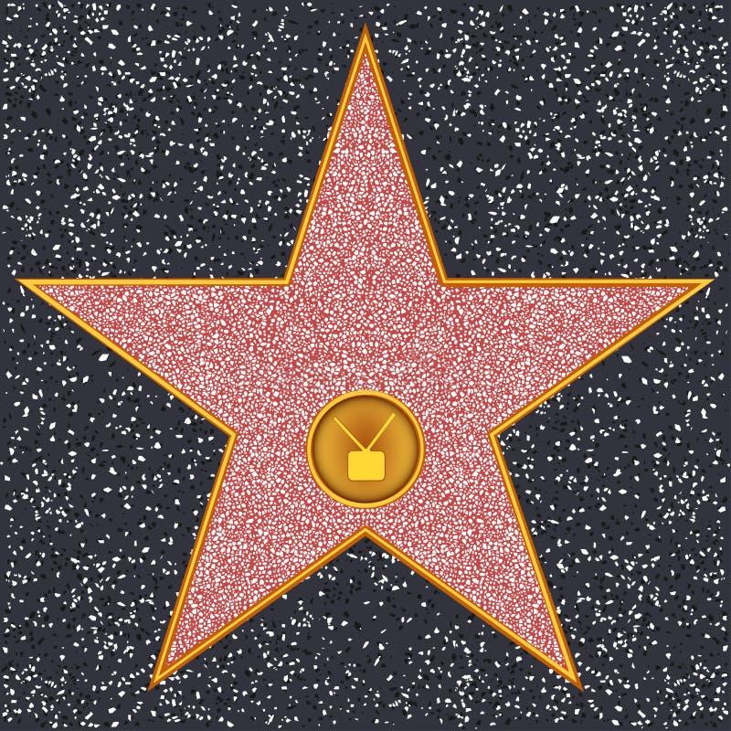 Receptor de televisão da estrela (caminhada de Hollywood da fama) ilustração stock