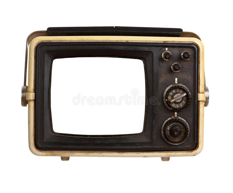 Receptor viejo del portable TV con la pantalla en blanco imagenes de archivo