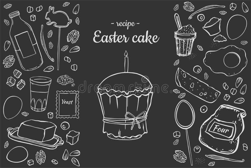 Receptpåskkaka på svart stock illustrationer