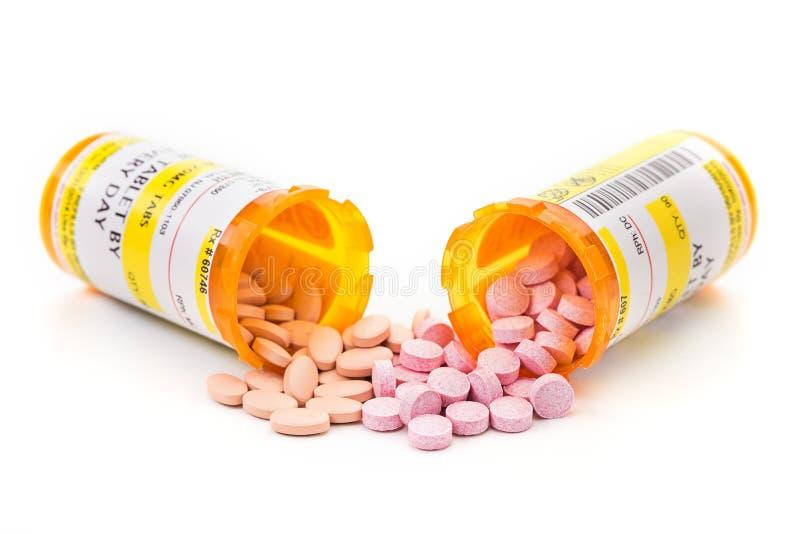 Recepturowy lekarstwo w apteki pigułki buteleczkach obrazy stock