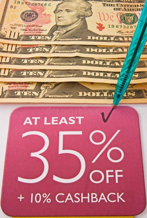 Recesión: reducción de precio y oferta de la parte posterior del efectivo. fotos de archivo libres de regalías