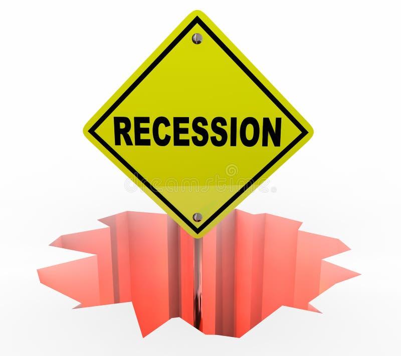 Recesi gospodarki znaka ostrzegawczego Pieniężna degrengolada ilustracji