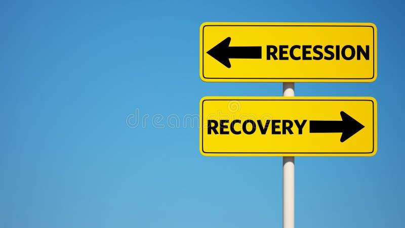 Recesi i wyzdrowienia znak z ścinek ścieżką ilustracja wektor