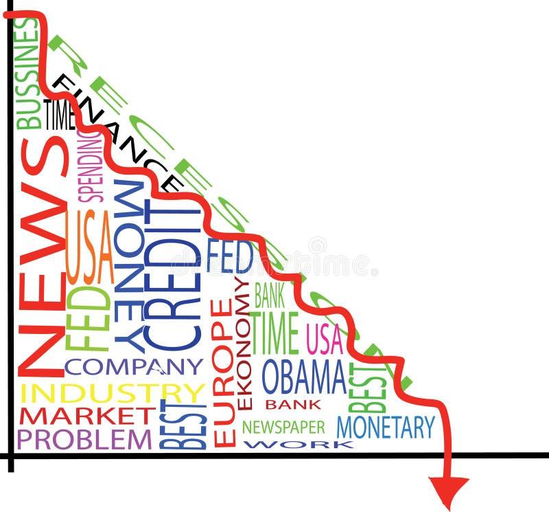 Recesion graph stock image