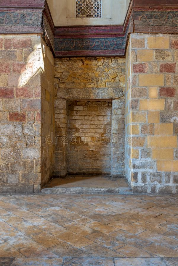 Recessed frames in an old stone bricks wall royalty free stock photos