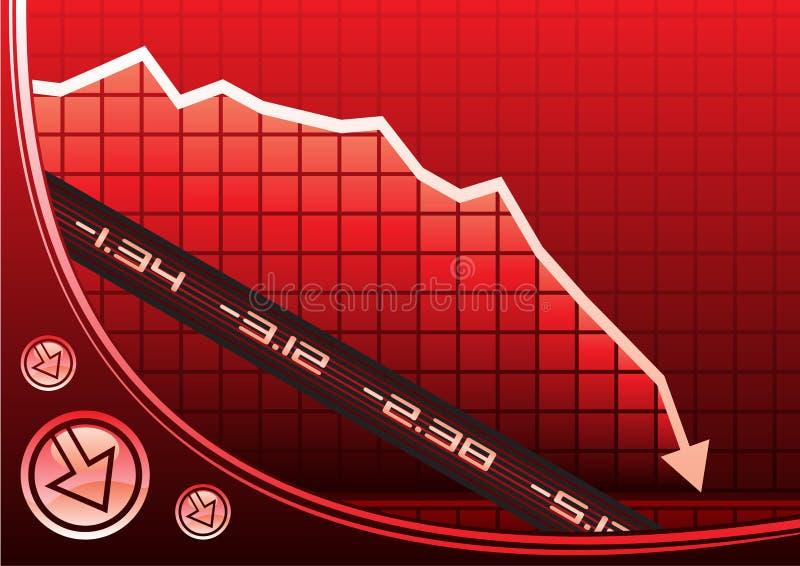Recessie op grafiek royalty-vrije illustratie