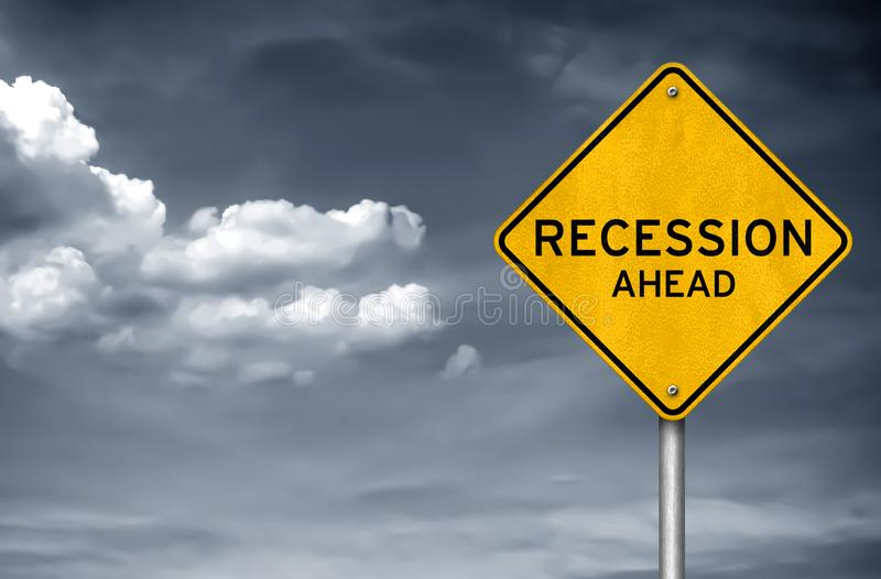 Recession ahead. Road sign warning concept stock image