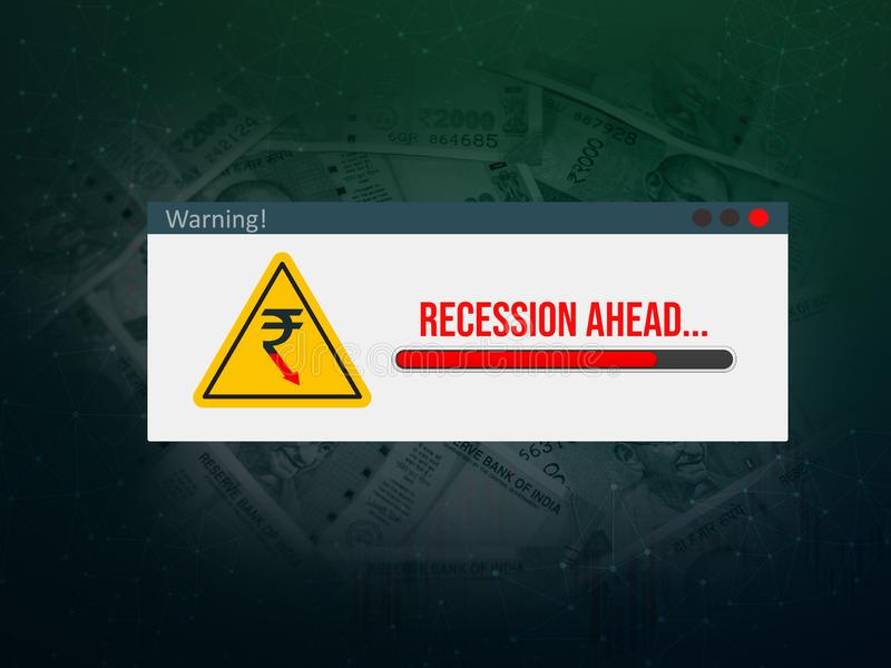 Recession ahead, warning message, popup, Indian economic crisis, Recession concept, illustration. Recession ahead, warning message, popup, Indian economic crisis stock photo
