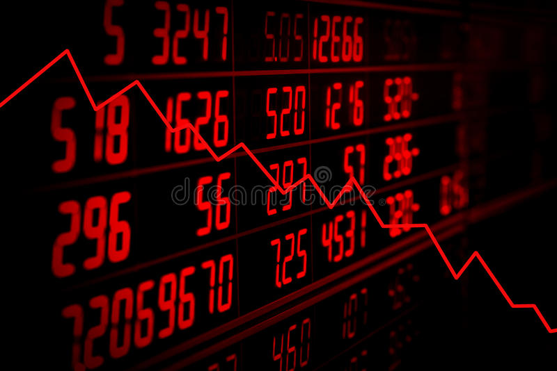 Recession concept. Display of red electronic board of stock market quotes with down trend graph. Recession concept royalty free stock photos