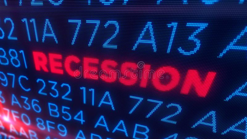 Recession concept. Recession business and stock crisis concept. Economy crash and markets down 3D illustration. Screen pixel style stock photography