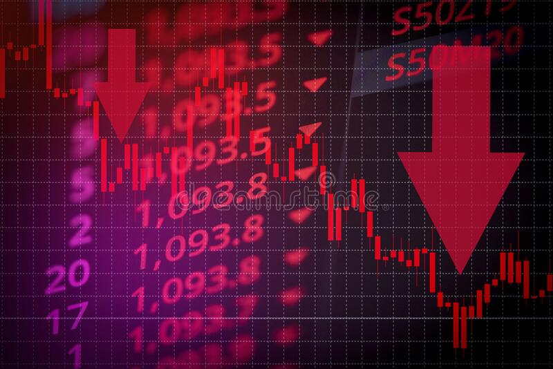 Recession economy stock crash red market trade war economic world financial business and stock crisis and markets down because of stock photos