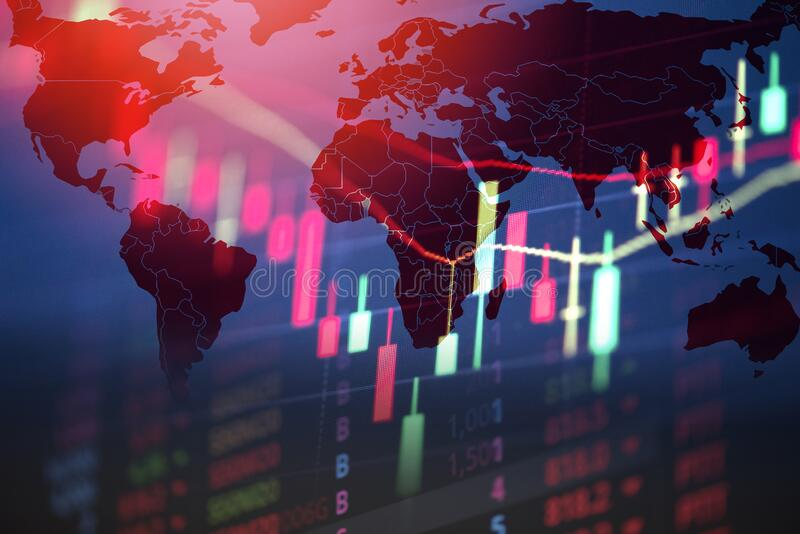 Recession economy stock crash red market trade war economic world financial / business and stock crisis and markets down because royalty free stock image