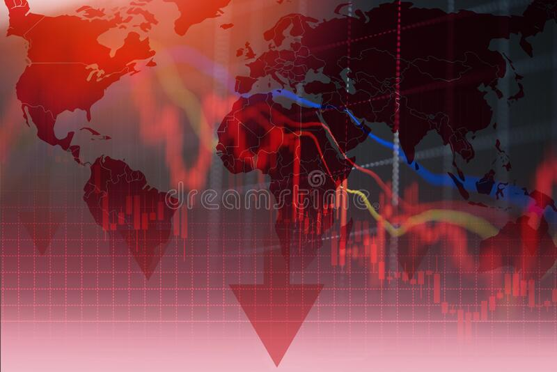 Recession economy stock crash red market trade war economic world financial business and stock crisis and markets down because of royalty free stock image