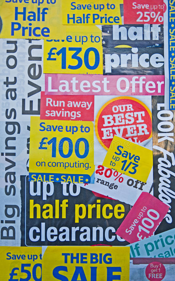 Recession: reduced prices and special offers. An image of a collage of press cuttings relating to reduced prices and special offers. The recession has increased stock image