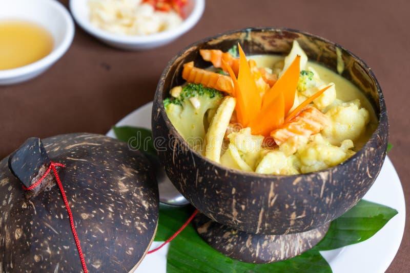 Receta camboyana Amok de la comida de Vegetarain fotografía de archivo libre de regalías