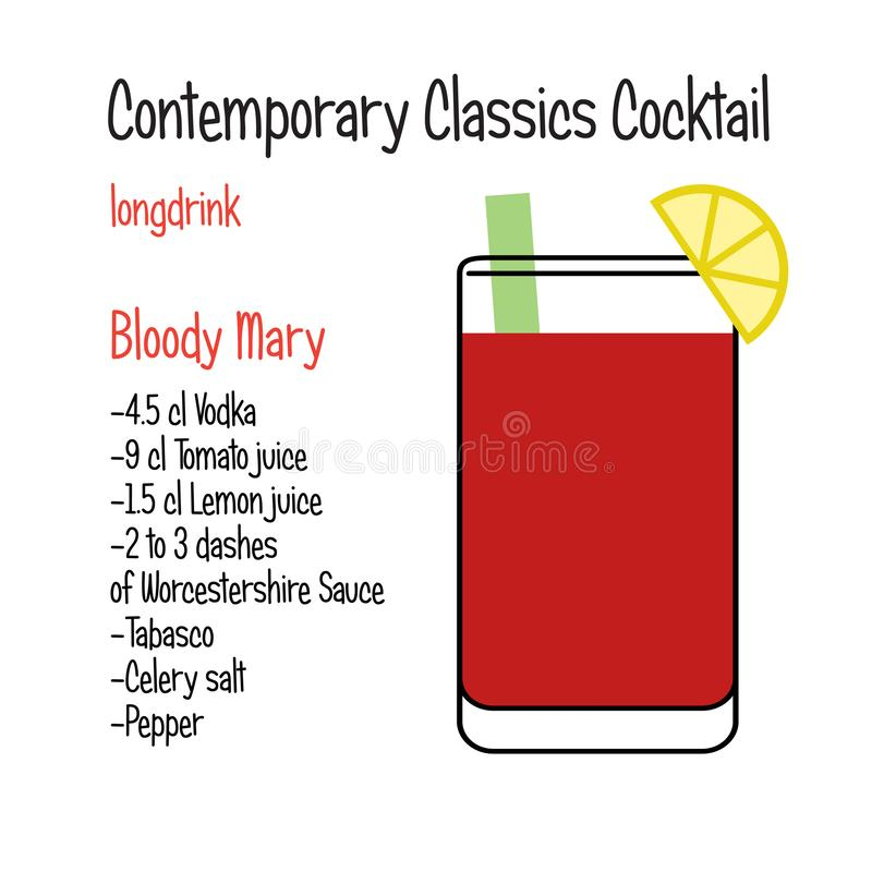 Receta clásica contemporánea del cóctel del vector del bloody mary libre illustration