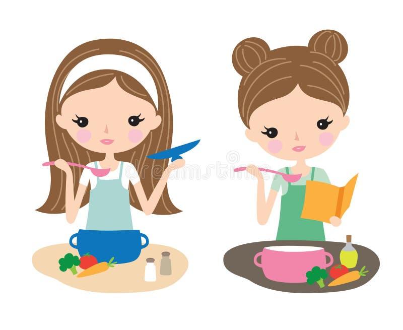 Receta de cocinar y de lectura de la mujer bastante joven ilustración del vector