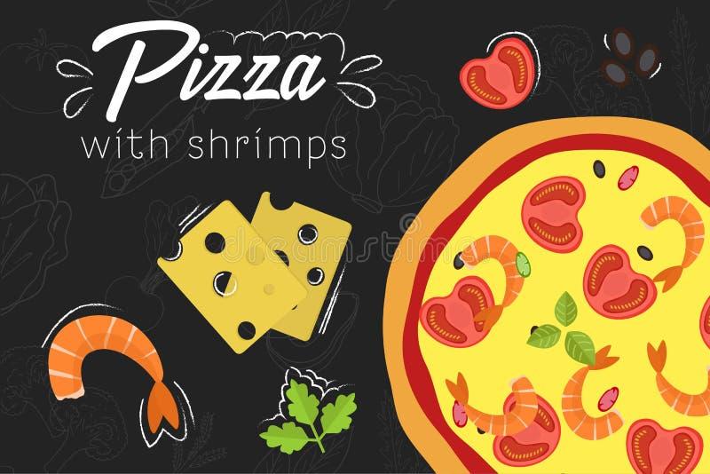 Receta de la pizza Ejemplo plano del estilo Pizza en fondo de la pizarra libre illustration