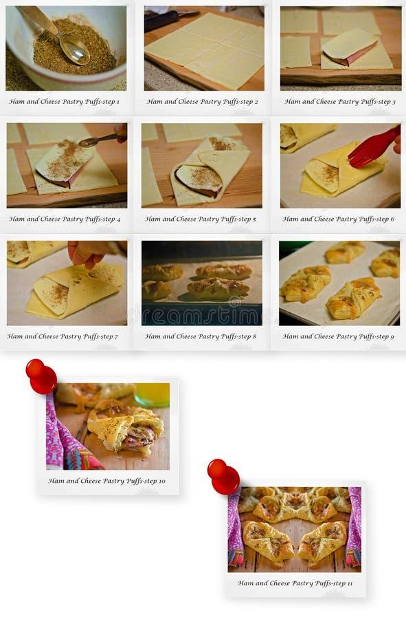 Receta de los soplos de los pasteles del jamón y del queso foto de archivo