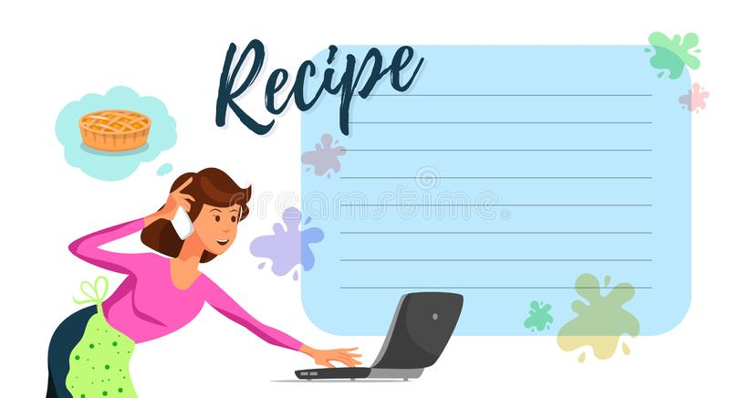 Receta de observación de la torta de la mamá plana del vector en el ordenador portátil libre illustration