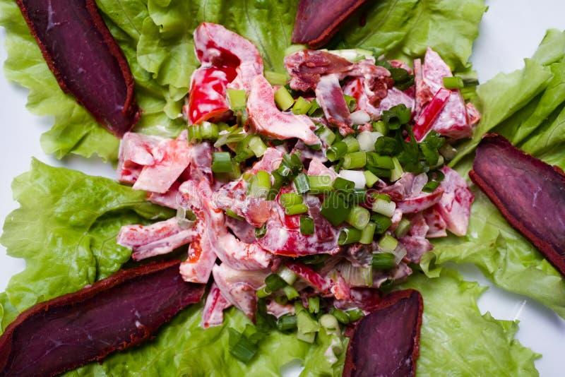 Receta deliciosa de alimentación de la ensalada de la carne imagen de archivo libre de regalías