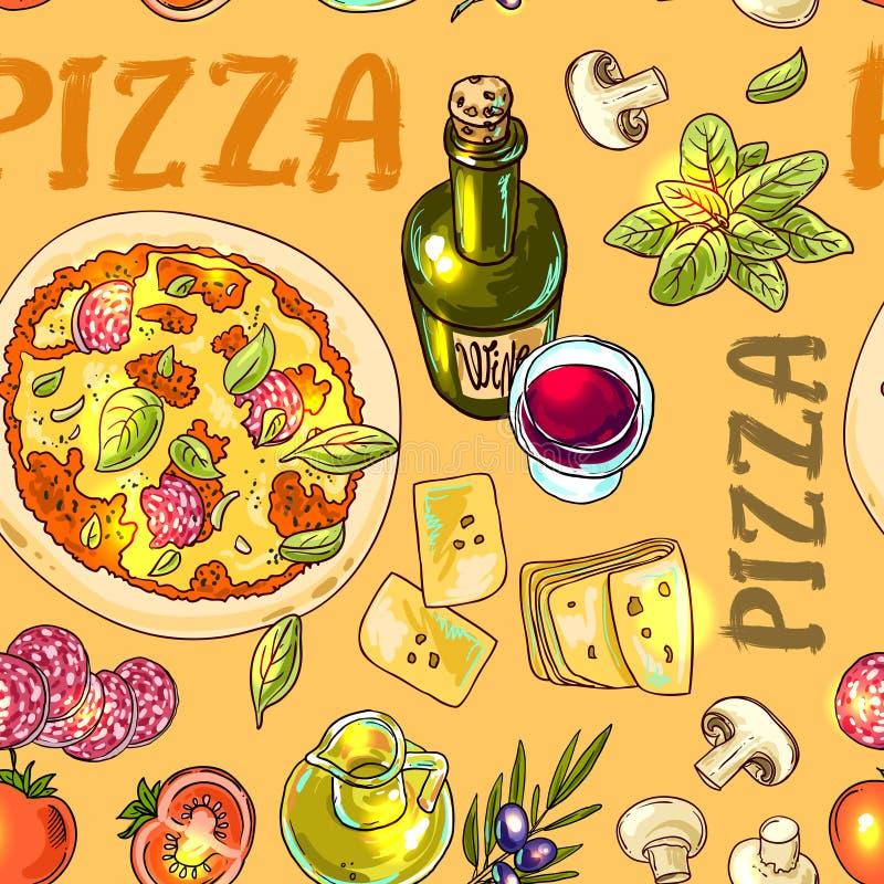 Receta italiana de la pizza libre illustration