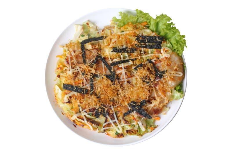 Receta japonesa hecha en casa de la crepe de la col de Okonomiyaki fotografía de archivo libre de regalías