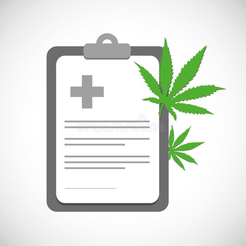 Receta médica de la marijuana con las hojas verdes del cáñamo libre illustration
