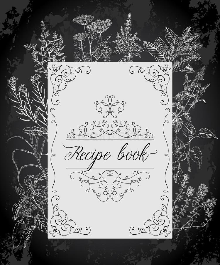 Receta que cocina el libro con el marco, las hierbas y las especias antiguos libre illustration
