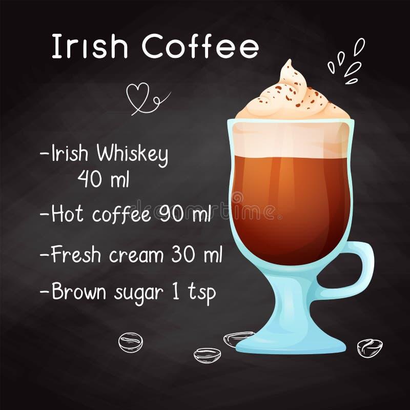 Receta simple para un café irlandés del cóctel alcohólico Tiza de dibujo en una pizarra Vector libre illustration
