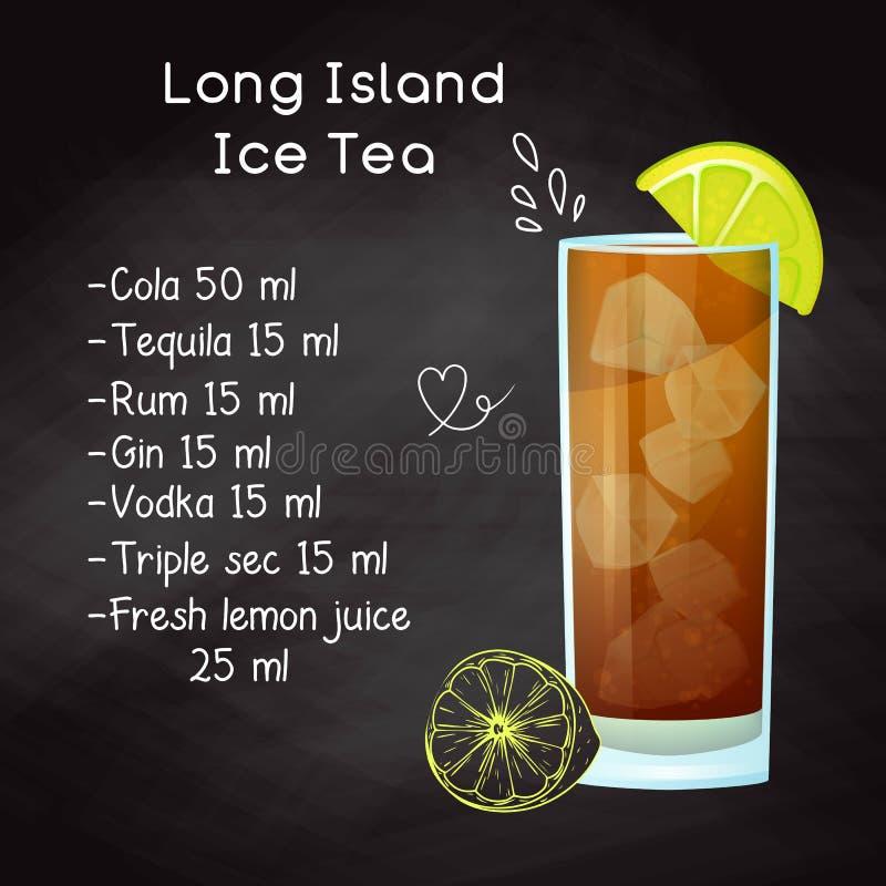 Receta simple para un té helado alcohólico de Long Island del cóctel Tiza de dibujo en una pizarra Vector stock de ilustración